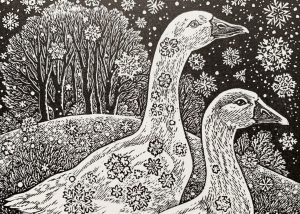 Sue Scullard print Geese in the Snow